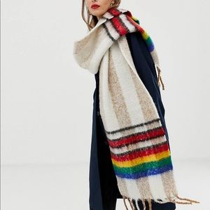 Oversized long Scarf with rainbow border